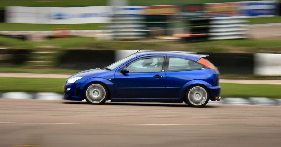 Mike blitzing round Lydden Hill.